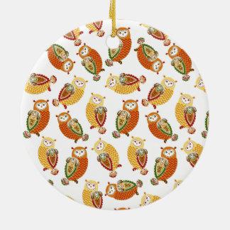 Charming, Cute owls in autumn colors Ceramic Ornament