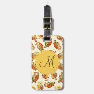 Charming, Cute owls in autumn colors Luggage Tag