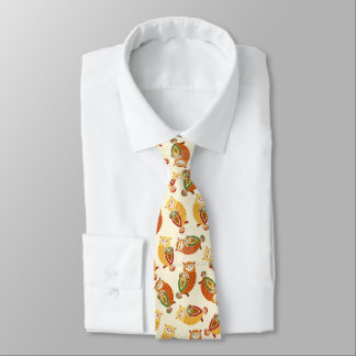Charming, Cute owls in autumn colors Tie