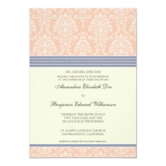 "Charming Damask 5x7 Wedding Invitation: blush 5"" X 7"" Invitation Card"