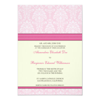 "Charming Damask 5x7 Wedding Invitation: hot pink 5"" X 7"" Invitation Card"