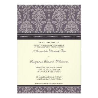 Charming Damask 5x7 Wedding Invitation: plum