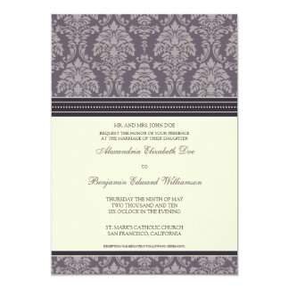 Charming Damask 5x7 Wedding Invitation: plum 13 Cm X 18 Cm Invitation Card