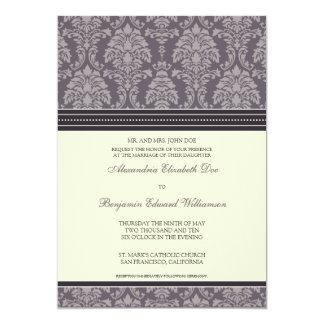 Charming Damask 5x7 Wedding Invitation: plum 13 Cm X 18 Cm Invitation Card