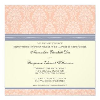 Charming Damask Square Wedding Invitation: blush