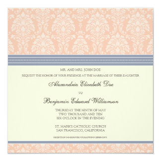 "Charming Damask Square Wedding Invitation: blush 5.25"" Square Invitation Card"