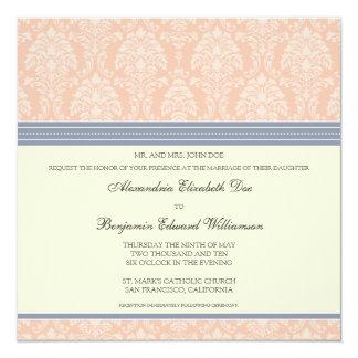 Charming Damask Square Wedding Invitation: blush 13 Cm X 13 Cm Square Invitation Card