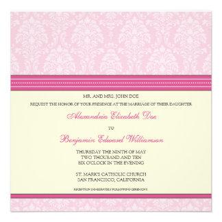 Charming Damask Square Wedding Invitation: pink
