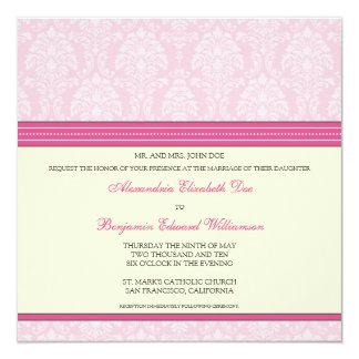 "Charming Damask Square Wedding Invitation: pink 5.25"" Square Invitation Card"