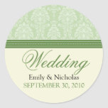 Charming Damask Wedding Invitation Seal (green) Round Sticker