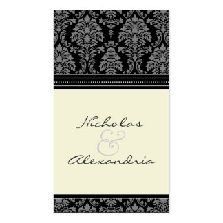 Charming Damask Wedding Web Card (black/ivory) Pack Of Standard Business Cards