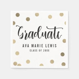 Charming Dots Gold Graduation Napkins Disposable Serviette