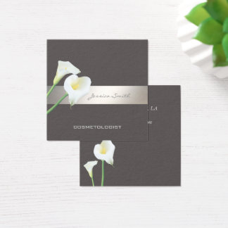 Charming elegant chic luxury romantic calla lily square business card