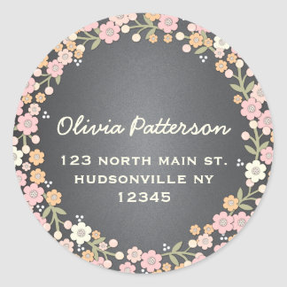 Charming Garden Floral Wreath Address Sticker