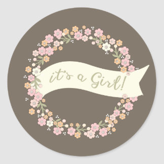 Charming Garden Floral Wreath Girl Baby Shower Round Sticker
