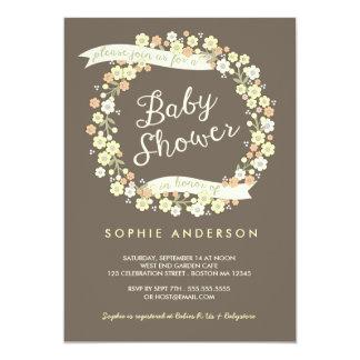 Charming Garden Floral Wreath Neutral Baby Shower 13 Cm X 18 Cm Invitation Card