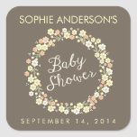 Charming Garden Floral Wreath Neutral Baby Shower Square Stickers