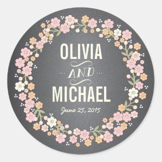 Charming Garden Floral Wreath Personalized Sticker
