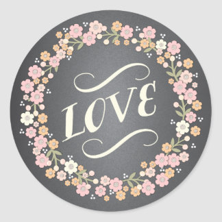 Charming Garden Floral Wreath Wedding Love Sticker