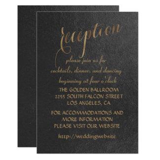 Charming Gold Foil Black Wedding Reception Card