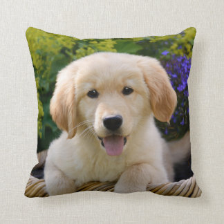 Charming Goldie Cute Puppy Portrait, Square Cushion