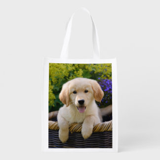Charming Goldie Dog Cute Puppy Photo, reuseable Reusable Grocery Bag