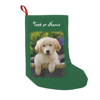 Charming Goldie Retriever Dog Puppy Personalized Small Christmas Stocking