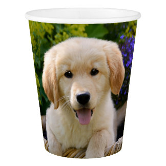 Charming Goldie Retriever Dog Puppy Portrait Party Paper Cup