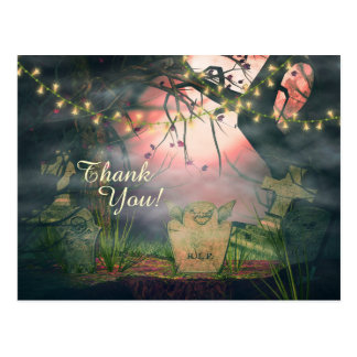 Charming Graveyard and Flower Lights Thank You Postcard