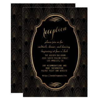 Charming Great Gatsby Art Deco Wedding Reception Card