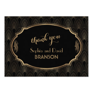 Charming Great Gatsby Art Deco Wedding THANK YOU Card