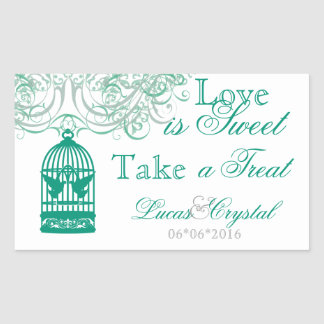 Charming Green Birdcage Candy Buffet Sticker