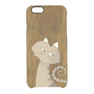 Charming Grey Cat On Rough Old Golden Background Clear iPhone 6/6S Case