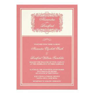 Charming Heart Frame Wedding Invitation blush