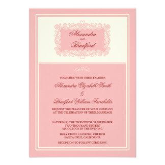 Charming Heart Frame Wedding Invitation pink