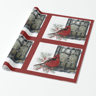Charming Holiday Cardinal on Feeder Wrapping Paper