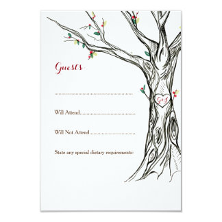 Charming Holly Tree RSVP Cards 9 Cm X 13 Cm Invitation Card