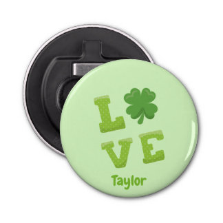 Charming Love Block St Patricks Day Bottle Opener