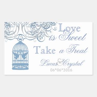 Charming Lt Blue Birdcage Candy Buffet Sticker