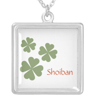 Charming Lucky Clover Square Pendant Necklace