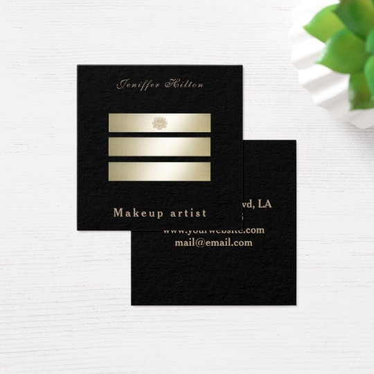 Charming Luxury black  shiny golden stripes lotus Square Business Card