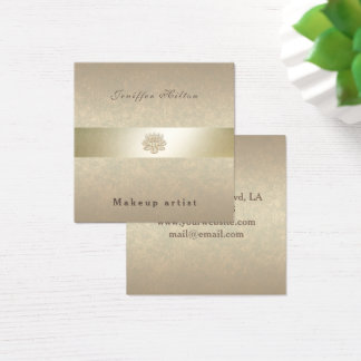 Charming Luxury gentle shiny golden lotus Square Business Card