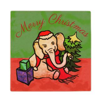Charming Merry Christmas Santa Cartoon Elephant Wood Coaster