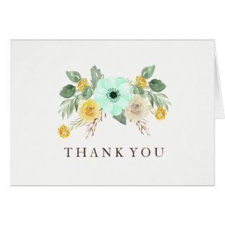 Charming Mint and Yellow Wedding Thank You Cards
