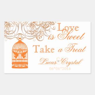 Charming Orange Birdcage Candy Buffet Sticker