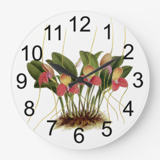 Charming Orchid Flowers Wall Clock