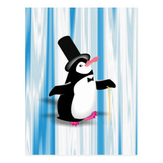 Charming Penguin on Blue Curtain Postcard