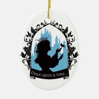Charming princess stylish silhouette singing bird ceramic oval decoration