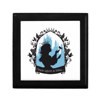 Charming princess stylish silhouette singing bird small square gift box