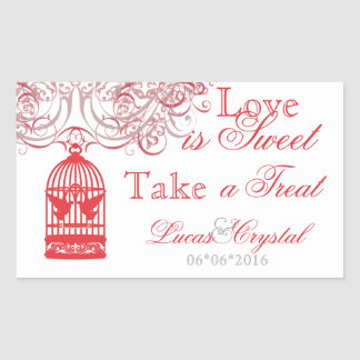 Charming Red Birdcage Candy Buffet Sticker